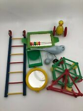 Vintage Bird Cage Toys Weighted Parakeet, yellow bird on wheels, other misc toys