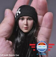 1/6 Scale Knit Black Beanie Watch Cap w/ Yankees Logo for 12'' Figure Doll