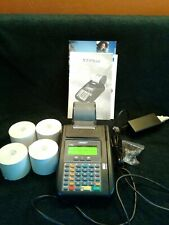 Hypercom T7 Plus Credit Card Machine and Power Supply, box and 4 new paper rolls