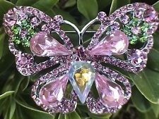 Pink Butterfly And Flower Crystal Rhinestone Brooch Pin Fashion Jewelry Wedding