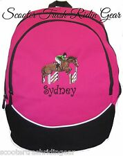Hunter Jumper Jumping Horse Hot Pink Backpack Book Bag Personalized New monogram