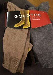 NWT Men's Gold Toe Flat Knit Socks 6 Pair Shoe Size 6-12.5 Sock Size 10-13