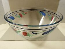 """Lenox Poppies on Blue 9"""" Glass Mixing Serving Salad Bowl Arcoroc France"""