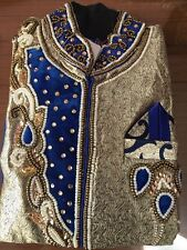 "24"" Age 4 5 Size Boys Kurtha Indian Sherwani Bollywood Suit Blue Gold Bronze B29"