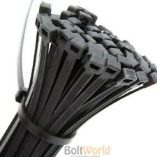 100 x 4.8mm x 300mm BLACK NYLON PLASTIC CABLE TIES FREE POST STRONG CABLE TIE