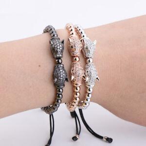 Exquisite Double CZ Leopard Head Men 5mm Copper Beads Braiding Charm Bracelets