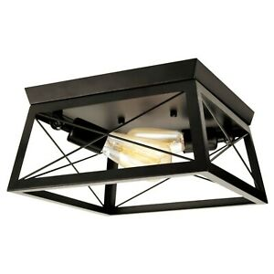 Vintage Ceiling Light Fitting Black Square Industrial Lamp 2 x E27 Lights Rustic