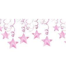 LOVELY PINK SHOOTING STAR SWIRL DECORATIONS (30) ~ Birthday Party Supplies Foil