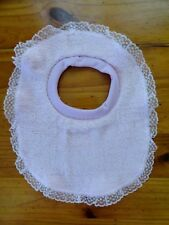 BABY UNISEX NEWBORN/INFANT/TODDLER FEEDING BIB..PINK WITH PINK LACE EDGING