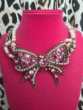 Betsey Johnson HUGE Pink Crystal Bow Pearl Gold Statement Choker Necklace RARE