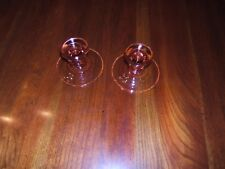 ~ Vintage PRETTY Pink Depression Glass CLASSY CANDLE HOLDERS~