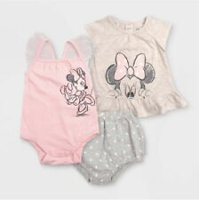 Disney Baby Infant Girls 0-3 Months Minnie Mouse Bodysuit 3pc Set Gray Pink