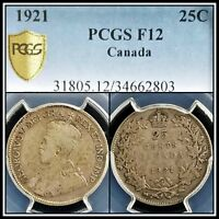 1921 Silver Canada 25 Cents PCGS F12 Fine Quarter Dollar 25c Classic Coin