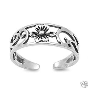 Adjustable Single Flower Toe Rings Sterling Silver 925 Beach Jewelry Gift