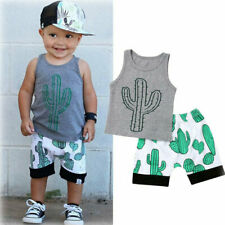2Pcs Summer Newborn Baby Boys Sleeveless Print T-Shirt Tops Shorts Set Outfits