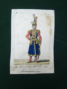C18TH ROYAL HUNGARIAN FOOT GUARDS SOLDIER FULL UNIFORM ANTIQUE COLOURED PRINT