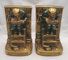 "Rare Antique Daison 24k Gold Plated Bookends Metalliques : ""The Old Professor"""