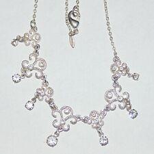 Signed Avon silver tone rhinestone crystal fleur de lis openwork choker necklace