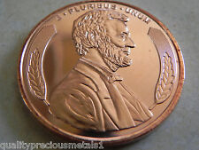 5 - 1 AVDP oz. 999 fine copper rounds - 2012 Lincoln Design - New - BU
