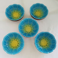 Set 5 Vintage Mid-Century-60's Turquoise/Yellow Flower USA Pottery Bowls 680B