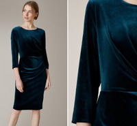 Jaeger Blue Luxurious Velvet Stretch Bodycon Cocktail Shift Party Dress 6 to 18