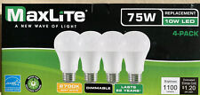 4 Pack Maxlite LED Light Bulbs 75W A19 10WLED  Replacement Softwhite