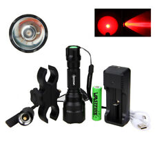 Tactical 5000LM Red LED USB Flashlight Torch Light Lamp Rifle Hunt Gun Mount