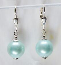Perlen Ohrringe Silber 925 Brisur Muschelkernperlen 10 mm. GRÜN MINT Ohrhänger