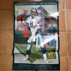 """VINTAGE - TROY AIKMAN / DALLAS COWBOYS """"UPPER DECK DBL SIDED POSTER""""  LOOK!!"""