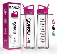 Mango Sports Water Bottle With Times Markings Straw Gym Pink Personalised Drink