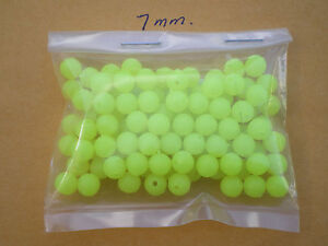 """500 PCS. 7MM. SOFT GLOW PLASTIC LURE BEADS-CHARTREUSE .052 HOLE, """"MAKE SPINNERS"""""""