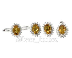 925 Sterling Silver Natural Citrine Gemstone Ring Earring Pendent Jewelry Set