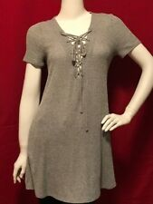 Forever 21 Size M Heather Grey Lace Up Tunic Dress