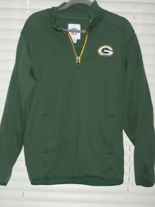 Green Bay Packers LS Pull-Over Zippered Sweatshirt, Green, Medium, NWOT