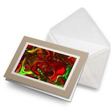 Greetings Card (Biege) - Red Green Liquid Glass Cool  #2785