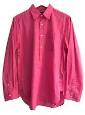 Women's RALPH LAUREN GOLF Long Sleeve Pink Cotton Half Button Shirt Top size 14