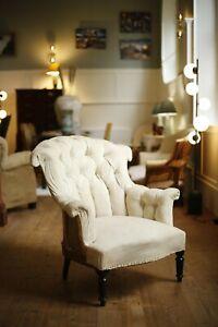 Napoleon III buttoned fishtail armchair
