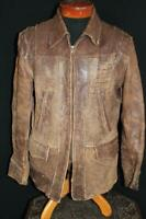 EXCEPTIONALLY RARE VINTAGE 1940'S WWII ERA BROWN LEATHER JACKET SIZE LARGE