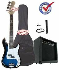 Electric Bass Guitar Pack, 20 Watts Amp, Bag, Strap, Cable, Blueburst