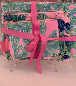 NWT GWP Lilly Pulitzer Triple Pouch Set Madevilla Pink Sand Paradise Free Ship
