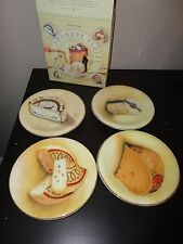 """WILLIAM SONOMA SET OF 4 FROMAGE CHEESE APPETIZER PLATES 8"""" NEW IN BOX ITALY"""