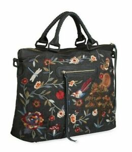 🌺$380 JOHNNY WAS KRYSA NATURE  EMBROIDERED BLACK OVERNIGHT TOTE BAG LAST ONE🌺