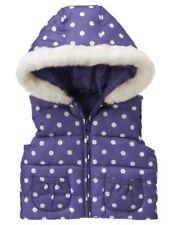 Gymboree SUPER STAR Purple & White Polka Dot Hooded Faux Fur Puffer VEST 12-24
