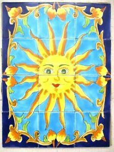 "18"" x 24"" Hand Painted Ceramic tile art  wall mural Panel SUN Blue Backsplash"