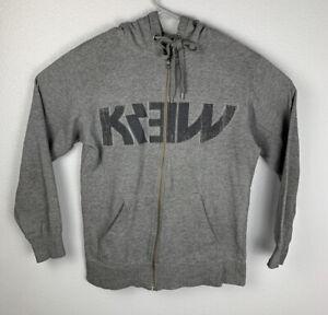 Krew Full Zip Hoodie Logo Gray Mens M Medium