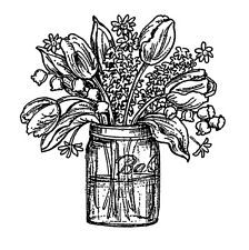 Flowers Mason Jar Small Wood Mounted Rubber Stamp NORTHWOODS C10405 New
