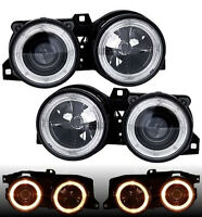 Black projector angel eye HALO headlights front lights for BMW E30 82-94