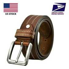 Mens Genuine FULL GRAIN Classic Leather Belt Belts Casual Jean Buckle Brown USA