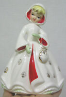 Vintage Christmas Lady Planter R/B Co. White Red Coat w Hood and Purse 1950s
