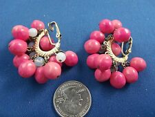 Vintage dangling HOT PINK/CLEAR plastic bead Half Hoop  Clip-back earrings